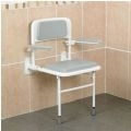 Wall Mounted Padded Shower Seat with Back and Arms thumbnail image 1
