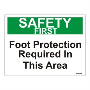 Click for sign Safety First Warning Foot Protection required in this area OSHA Safety Sign Board(200 X 150 MM) thumbnail image 1