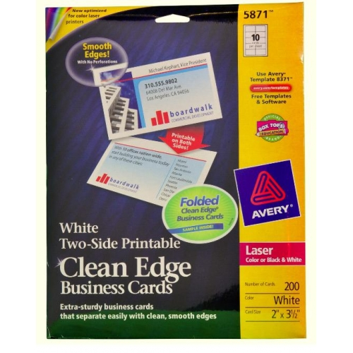 Avery Clean Edge Business Card 5871 Laser Print