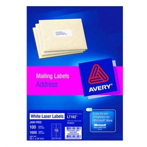 Avery Laser Label L7162 991 X 339mm 1600 Labelsbox