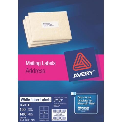 Avery Laser Label L7163 991 X 381mm 1400 Labelsbox