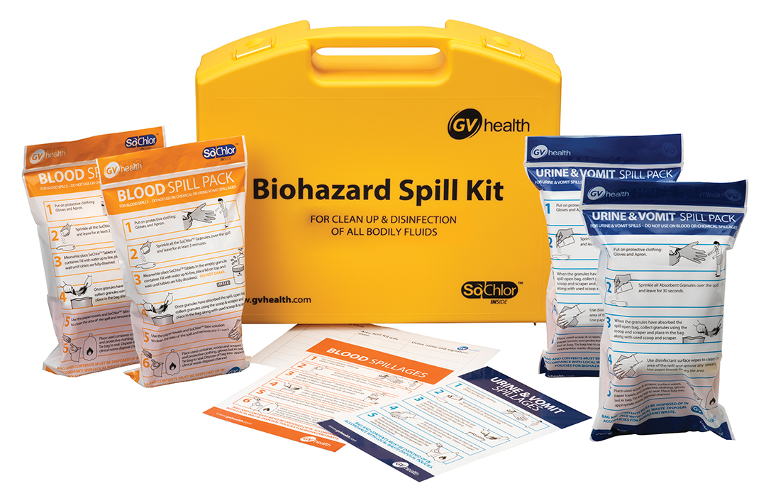 GV Health Biohazard & Bodily Fluid Standard Spill Kit –  x2 Blood Pack & x2 Urine Vomit Pack thumbnail image 1