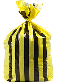 90L Large Double Sided Print Tiger Stripe Polythene Offensive Waste Bags 25mu (25 Bags) thumbnail image 1