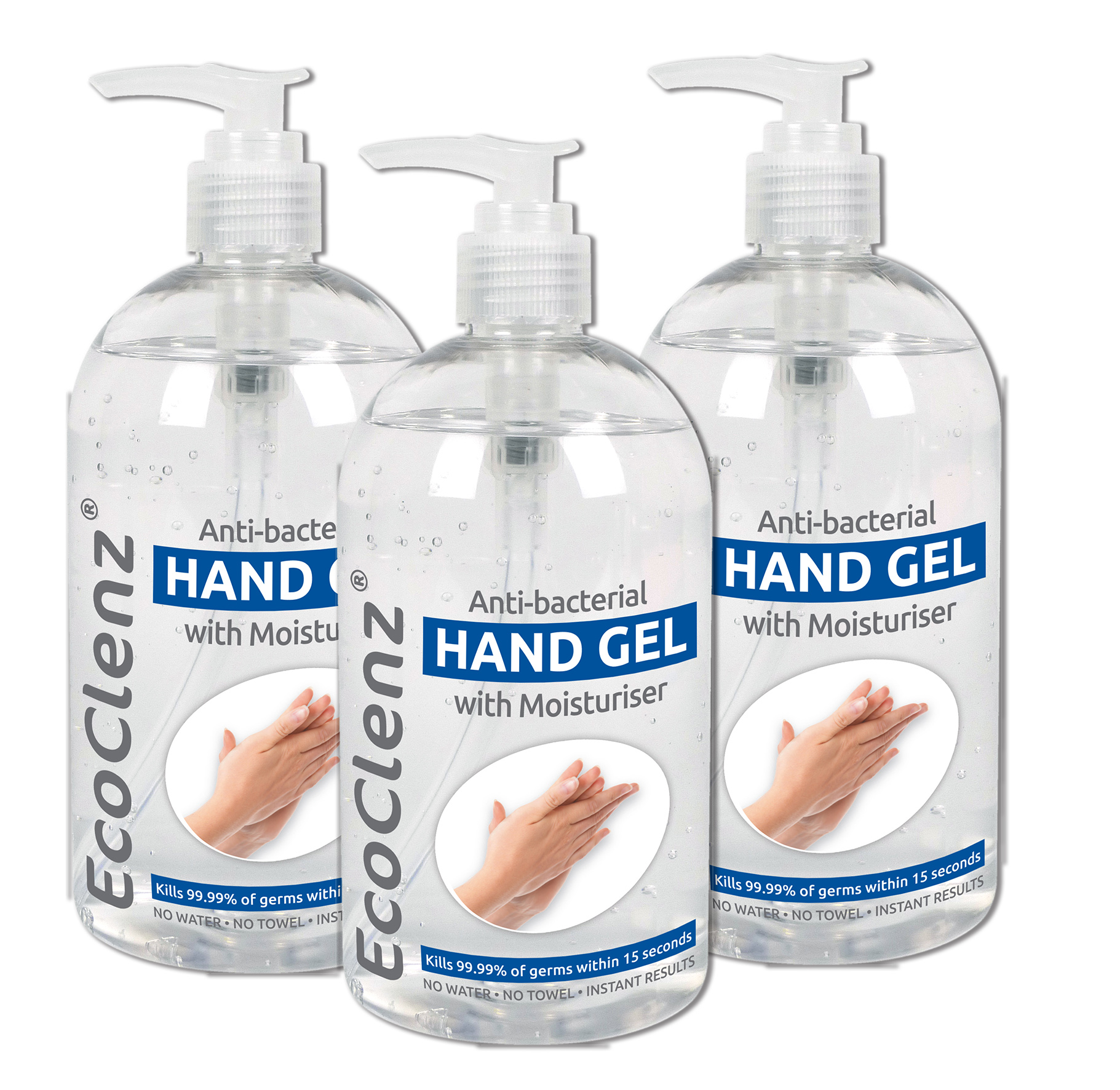 3x  500ml Hand Sanitiser Gel with Moisturiser  Antibacterial  - Pack of 3 thumbnail image 1