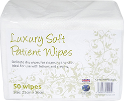 Luxury Soft Dry Patient Cleansing Wipes x50 (40 Packs) thumbnail image 1