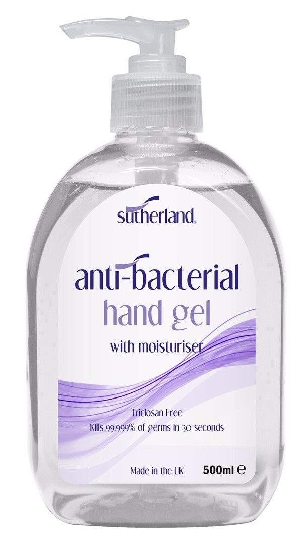 Sutherland Anti-Bacterial Hand Gel 500ml x 6 thumbnail image 1