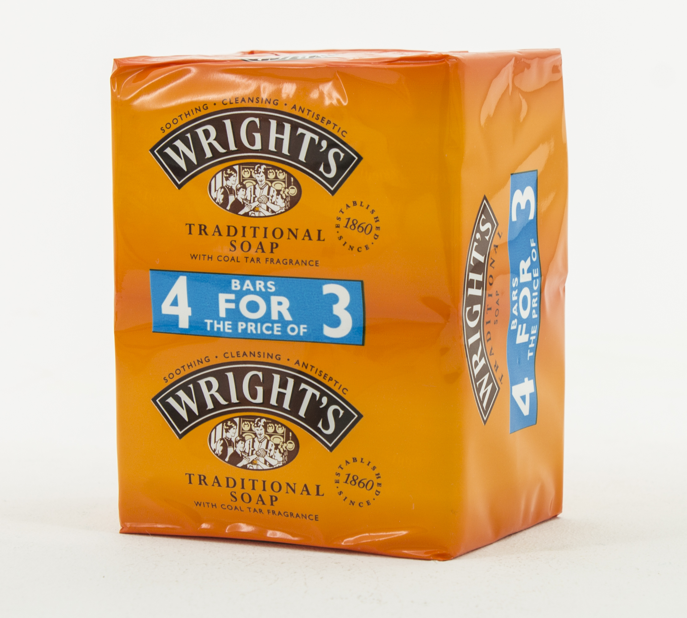 Wrights Traditional Coal Tar Soap - Pack of 4 thumbnail image 1